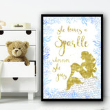 Sparkle Mermaid Blue 2 Children's Nursery Bedroom Wall Art Print