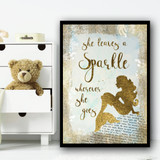 Sparkle Mermaid Montage Style Children's Nursery Bedroom Wall Art Print