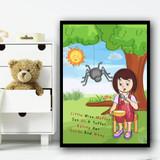 Little Miss Muffet Nursery Rhyme Children's Nursery Bedroom Wall Art Print