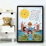 London Bridge Is Falling Down Nursery Rhyme Children's Nursery Bedroom Print