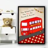London Wheels On The Bus Nursery Rhyme Children's Nursery Bedroom Wall Art Print