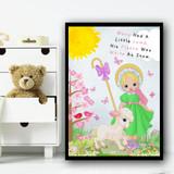 Mary Had A Little Lamb Nursery Rhyme Children's Nursery Bedroom Wall Art Print