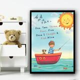 One, Two, Three, Four, Five Nursery Rhyme Children's Nursery Bedroom Print