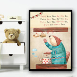 Polly Put The Kettle On Nursery Rhyme Children's Nursery Bedroom Wall Art Print