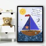 Row Row Row Your Boat Nursery Rhyme Children's Nursery Bedroom Wall Art Print