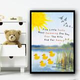 Five Little Ducks Nursery Rhyme Children's Nursery Bedroom Wall Art Print