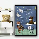 Hey Diddle Diddle Nursery Rhyme Children's Nursery Bedroom Wall Art Print
