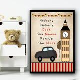 Hickory Dock Big Ben London Nursery Rhyme Children's Nursery Bedroom Print