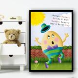 Humpty Dumpty Nursery Rhyme Children's Nursery Bedroom Wall Art Print