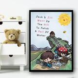 Jack And Jill Nursery Rhyme Children's Nursery Bedroom Wall Art Print