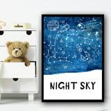 Night Sky Space Rocket Children's Nursery Bedroom Wall Art Print