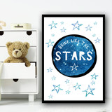Shine Like The Stars Space Children's Nursery Bedroom Wall Art Print