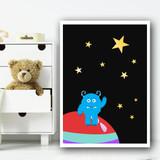 Space Blue Alien Children's Nursery Bedroom Wall Art Print