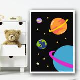 Space Planets Children's Nursery Bedroom Wall Art Print