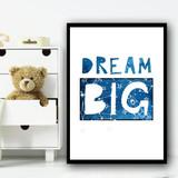 Dream Big Space Rocket Children's Nursery Bedroom Wall Art Print