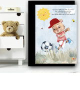 Football Bear Quote Children's Nursery Bedroom Wall Art Print