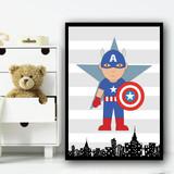 Captain America Stripes Superhero Children's Nursery Bedroom Wall Art Print