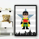 Robin Stripes Superhero Children's Nursery Bedroom Wall Art Print