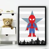 Spiderman Stripes Superhero Children's Nursery Bedroom Wall Art Print