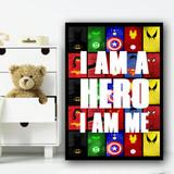 Superhero I Am Me Children's Nursery Bedroom Wall Art Print