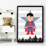 Superman Stripes Superhero Children's Nursery Bedroom Wall Art Print