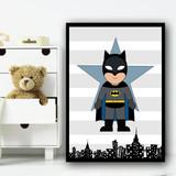 Batman Stripes Superhero Children's Nursery Bedroom Wall Art Print