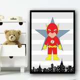 Flash Stripes Superhero Children's Nursery Bedroom Wall Art Print