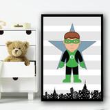 Green Lantern Stripes Superhero Children's Nursery Bedroom Wall Art Print