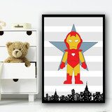 Iron Man Stripes Superhero Children's Nursery Bedroom Wall Art Print