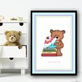 Baking Cakes Teddy 3 Children's Nursery Bedroom Wall Art Print