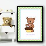 Baking Cakes Teddy 4 Children's Nursery Bedroom Wall Art Print