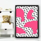 Bear Paw Pink Children's Nursery Bedroom Wall Art Print