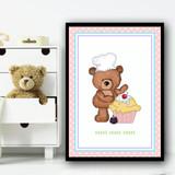Baking Cakes Teddy 1 Children's Nursery Bedroom Wall Art Print