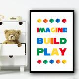 Lego Build Children's Nursery Bedroom Wall Art Print