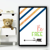 Adventure Be Free Blue Green Children's Nursery Bedroom Wall Art Print