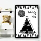 Believe In You Adventure Children's Nursery Bedroom Wall Art Print