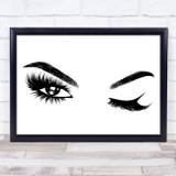 Sexy Winking Eyes Eyelashes Eyebrows Framed Wall Art Print