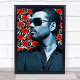 George Michael Red Flower Funky Framed Wall Art Print