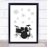 Music Note Style Chalk Drum Set Framed Wall Art Print