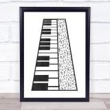 Music Note Style Chalk Keyboard Framed Wall Art Print