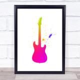 Rainbow Galaxy Guitar Framed Wall Art Print