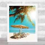 Palm Tree Scene Beach Scene Framed Wall Art Print