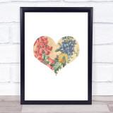 Vintage Floral Heart Framed Wall Art Print