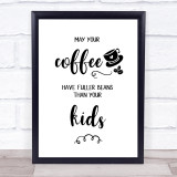 May Your Coffee Have Fuller Beans Quote Typogrophy Wall Art Print