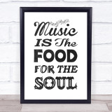 Music Note Style Chalk Music For Soul Quote Typogrophy Wall Art Print