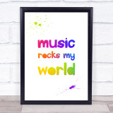 Rainbow Music Rocks My World Quote Typogrophy Wall Art Print