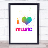 Rainbow I Love Music Quote Typogrophy Wall Art Print