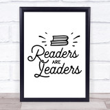 Readers Are Leaders Quote Typogrophy Wall Art Print