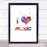 Galaxy I Love Music Quote Typogrophy Wall Art Print