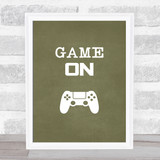 Game On Green Quote Typogrophy Wall Art Print